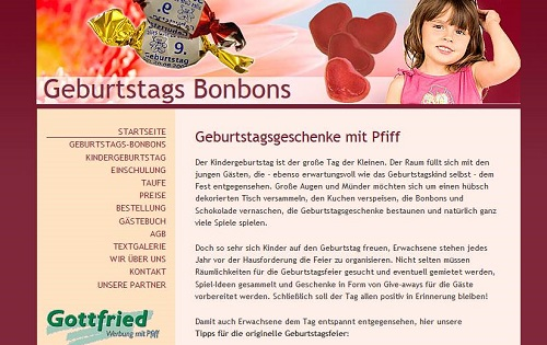 Content-Marketing Geburtstags-Bonbons